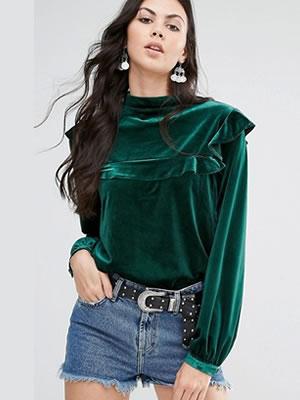 bluza catifea eleganta cu maneca lunga