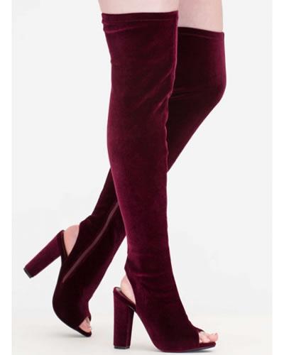 cizme catifea elastica peste genunchi