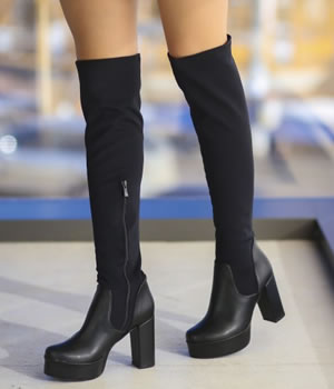 cizme peste genunchi cu toc gros si platforma