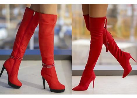 cizme peste genunchi rosii cu toc subtire