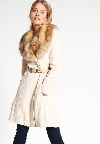 palton dama cambrat cu guler blana