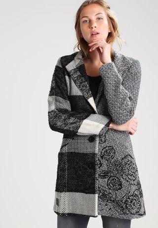 palton scurt desigual din stofa