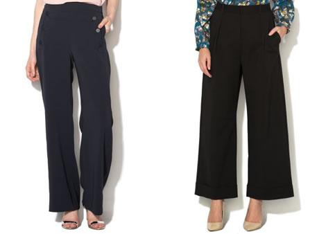 pantaloni cu talie inalta evazati eleganti