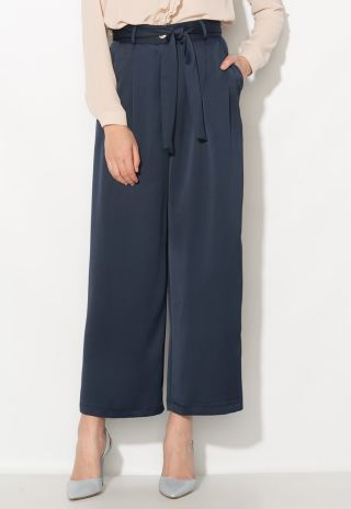 pantaloni culottes eleganti cu talie inalta