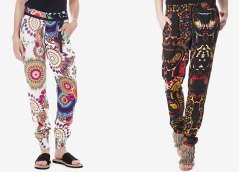 pantaloni desigual dama colorati
