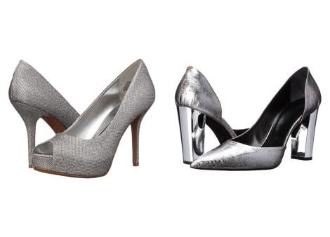 pantofi cu platforma si toc gros argintii