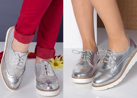 pantofi fara toc argintii cu siret