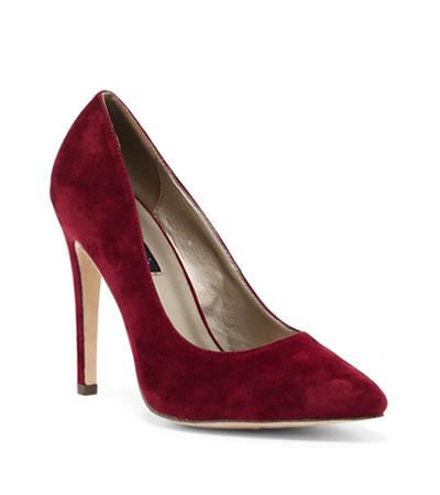 pantofi stiletto rosii catifea