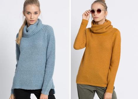 pulover dama cu guler rulat tricotat