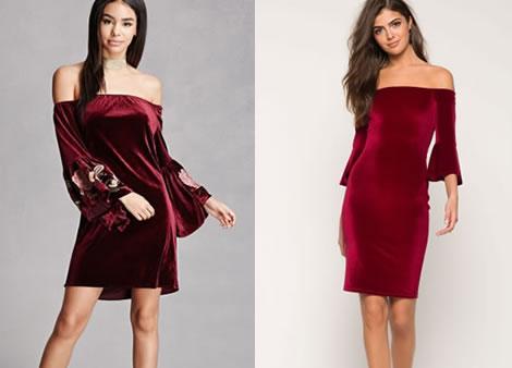 rochie catifea bordo cu umeri goi si maneca clopot