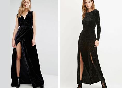 rochie catifea neagra lunga crapata pe picior