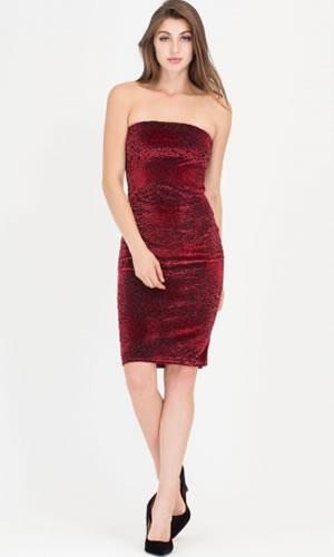 rochie catifea visinie midi conica