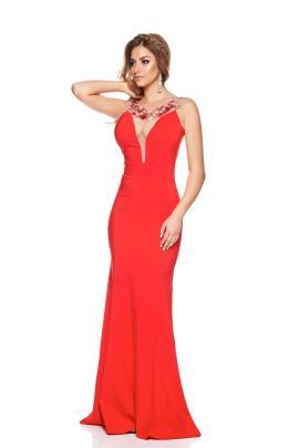 rochie de seara sirena rosie cu broderie