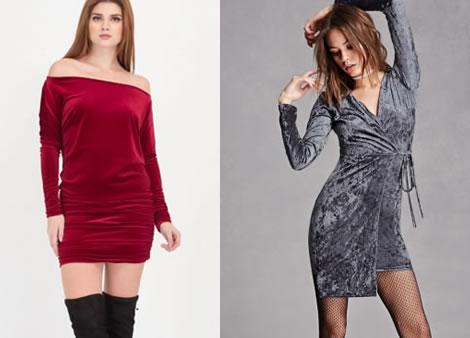 rochie din catifea elastica cu maneca lunga