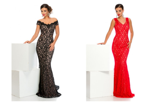 rochie lunga rosie tip sirena din dantela