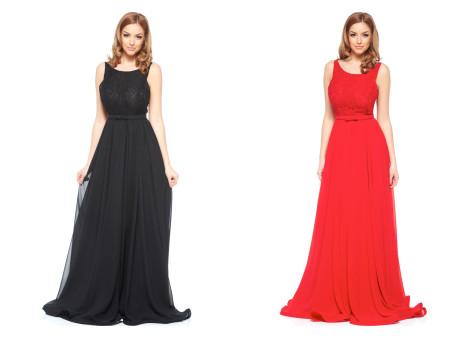 rochie rosie lunga din dantela