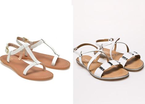 sandale albe piele fara toc