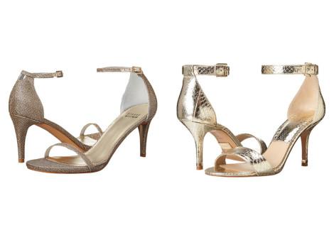 sandale aurii cu toc mic ieftine