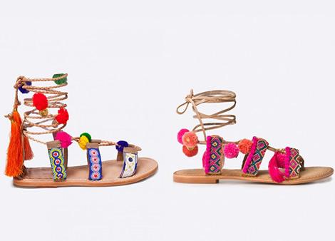 sandale cu ciucuri colorati