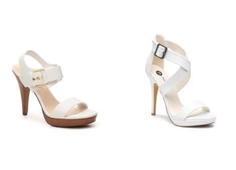 sandale cu toc si platforma albe