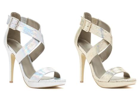 sandale de ocazie aurii cu toc stiletto