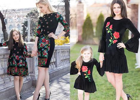 set rochii brodate mama si fiica