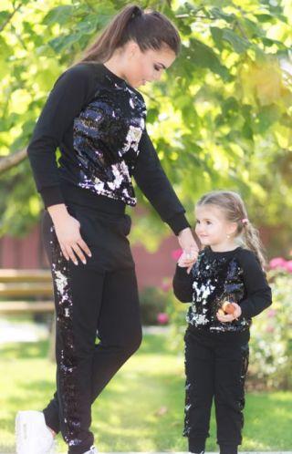 Cumpara Trening mama fiica din bumbac cu volane si paiete