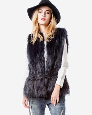 vesta blana artificiala femei